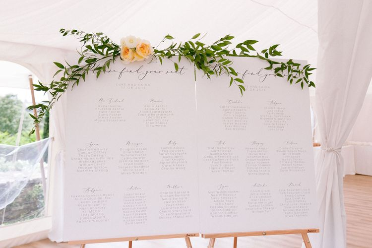 Wedding seating plan with flower and foliage decor