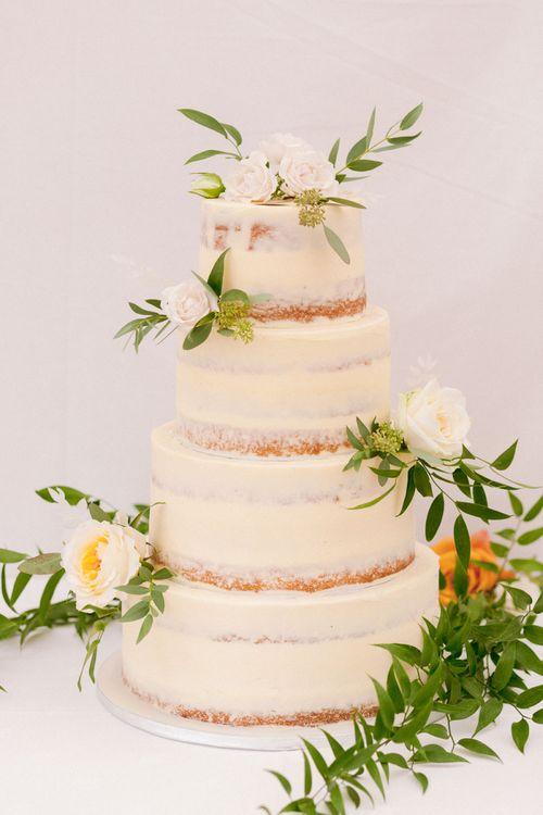 Semi-naked wedding cake at Shilstone House wedding