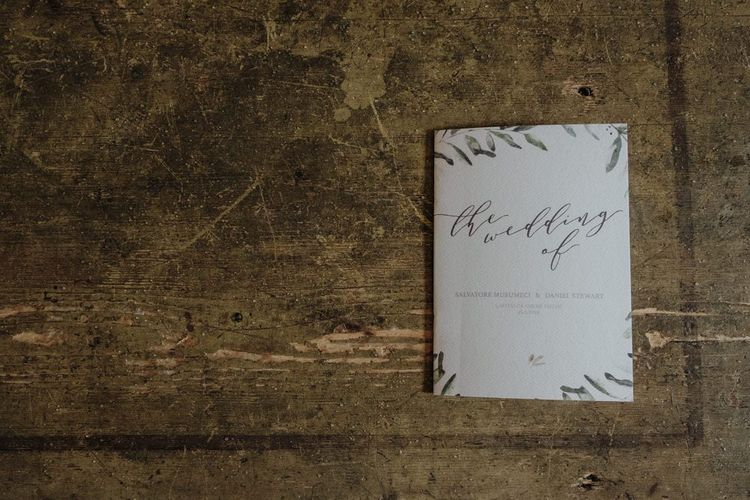 Wedding order of the day with olive branch design