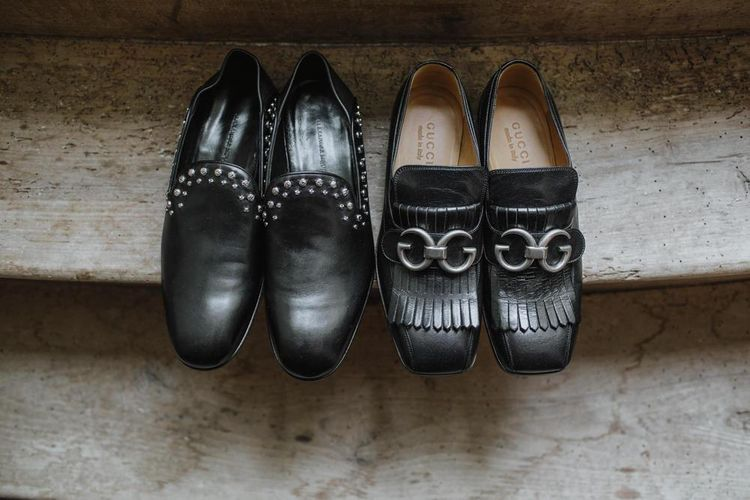 Wedding shoes for couple and grey groom suit