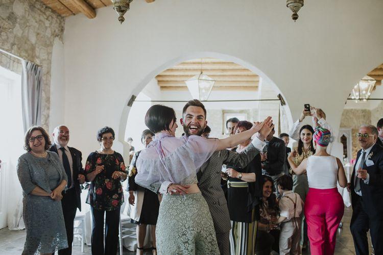 Grey groom suit for wedding dances