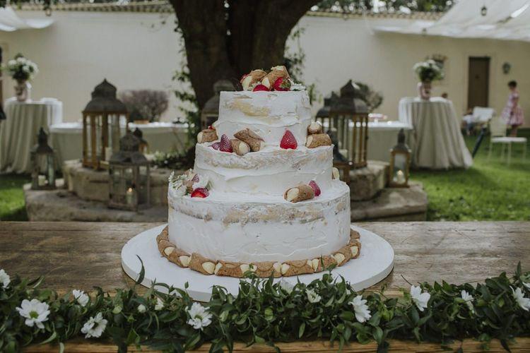 Semi-naked wedding cake at Italian wedding