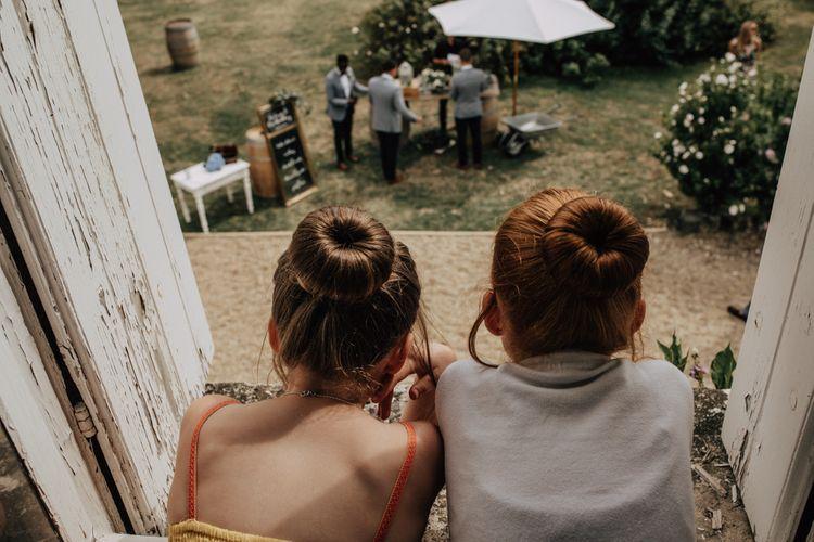 Flower girls with bun hairstyle