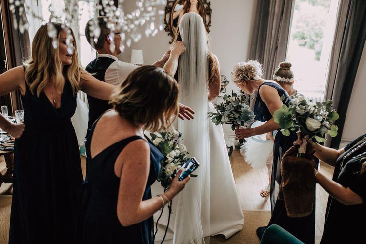 Bridal cathedral length wedding veil