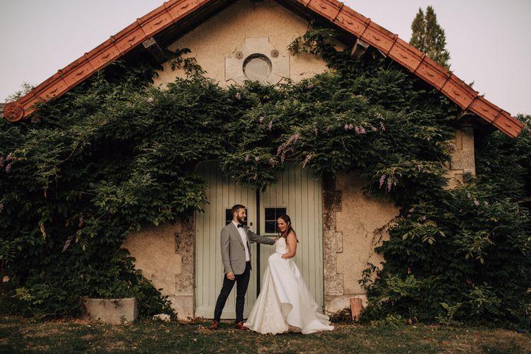 Portrait of bride and groom at destination wedding