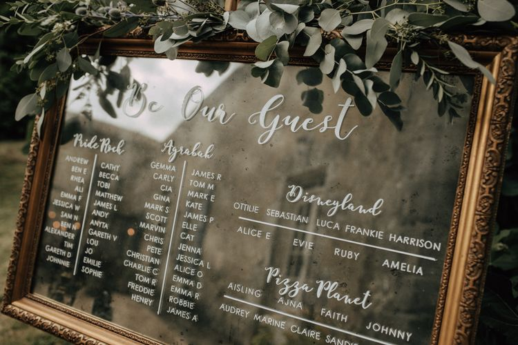 Mirror seating chart with Disney table names