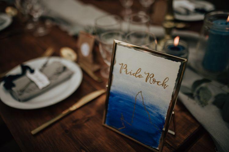 Disney wedding table name sign in gold frame