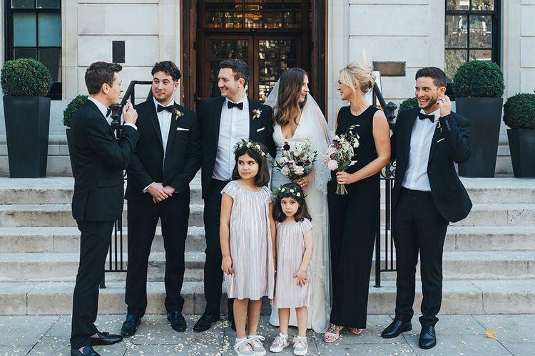 Wedding party and bridesmaid in black bridesmaid dresses