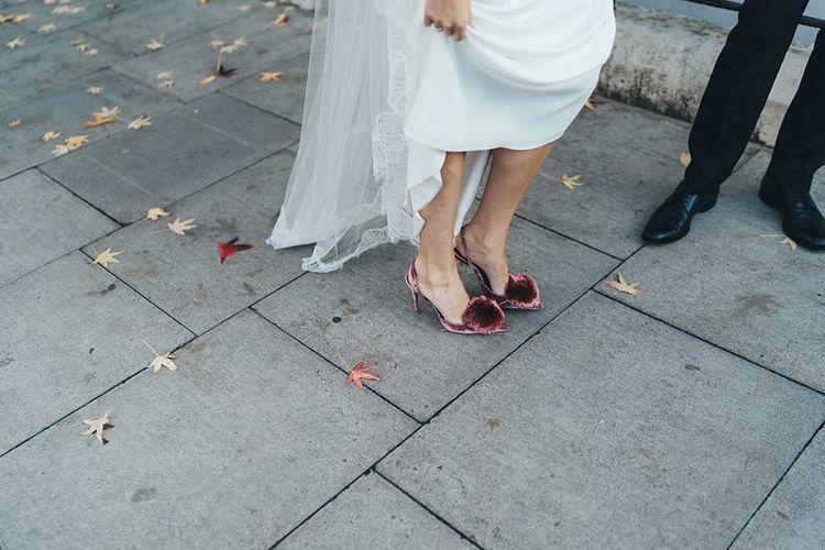 Velvet slingback Pom Pom wedding shoes