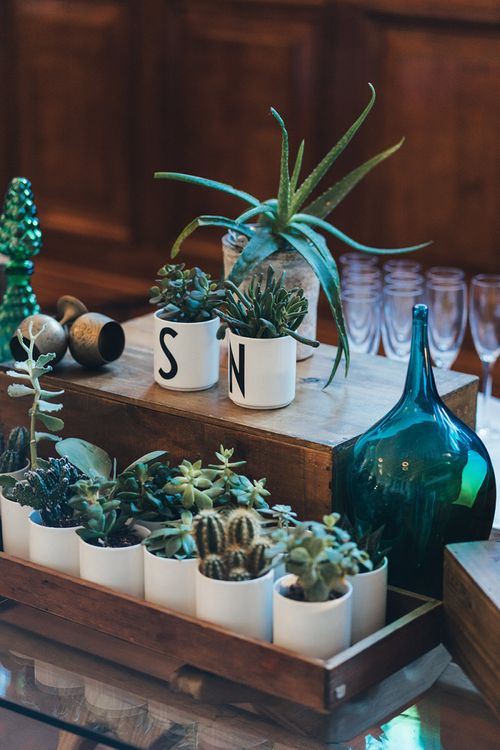 Personalised decor at wedding reception for autumnal city day