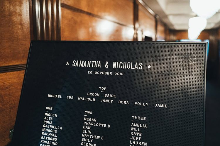 Peg board seating plan at monochrome styled city wedding reception