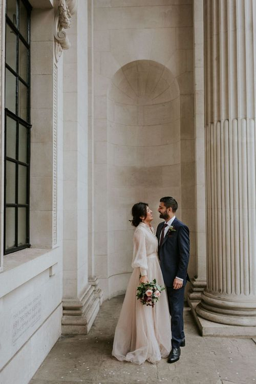 Bride and groom portrait at Old Marylebone Town Hall