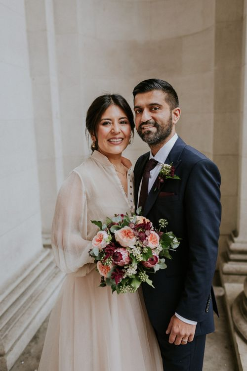 Bride and groom portrait at London Town hall wedding