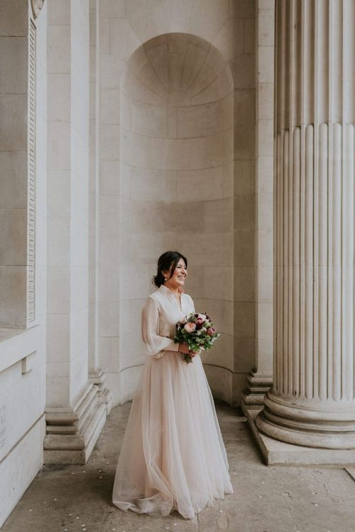 Bride in tulle skirt bridal separates at Old Marylebone Town Hall