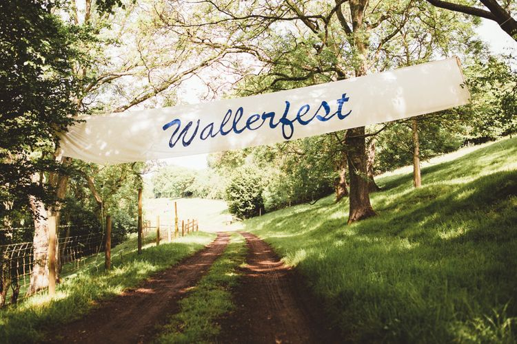 Wedding Sign | Bright Festival Themed Outdoor Ceremony & Tipi Weeding |  Maryanne Weddings | Framed Beauty Film