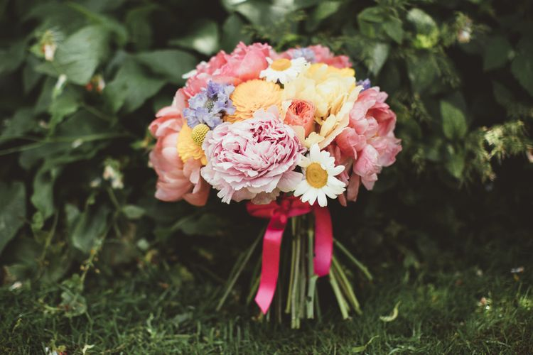 Colourful Bridal Bouquet | Bright Festival Themed Outdoor Ceremony & Tipi Weeding |  Maryanne Weddings | Framed Beauty Film