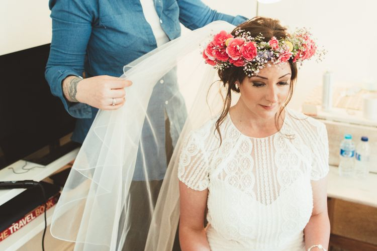 Flower Crown | Bride in Watters Gown | Bright Festival Themed Outdoor Ceremony & Tipi Weeding |  Maryanne Weddings | Framed Beauty Film