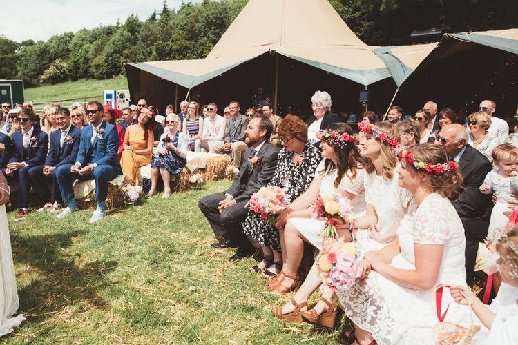 Wedding Ceremony | Bright Festival Themed Outdoor Ceremony & Tipi Weeding |  Maryanne Weddings | Framed Beauty Film