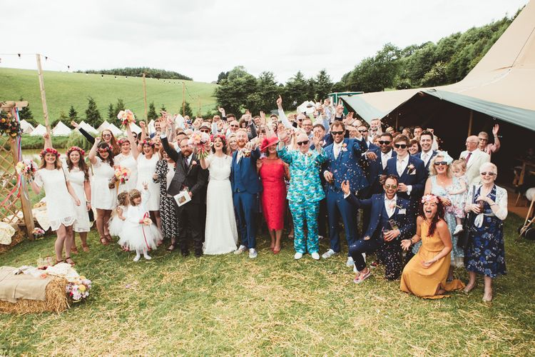 Wedding Guests | Bright Festival Themed Outdoor Ceremony & Tipi Weeding |  Maryanne Weddings | Framed Beauty Film