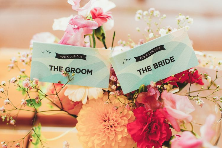 Wedding Stationery Name Place Cards | Bright Festival Themed Outdoor Ceremony & Tipi Weeding |  Maryanne Weddings | Framed Beauty Film