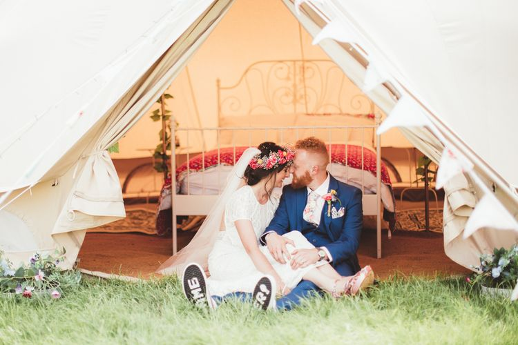 Glamping Bell Tent | Bride in Lace Watters Gown & Colourful Flower Crown | Groom in Navy Suit | Bright Festival Themed Outdoor Ceremony & Tipi Weeding |  Maryanne Weddings | Framed Beauty Film
