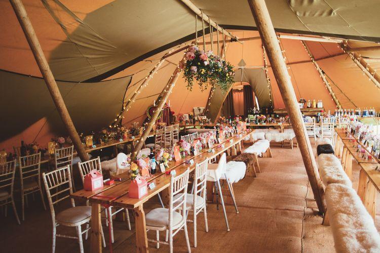 Rustic Reception Decor | Bright Festival Themed Outdoor Ceremony & Tipi Weeding |  Maryanne Weddings | Framed Beauty Film