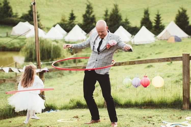 Hula Hoop Wedding Games | Bright Festival Themed Outdoor Ceremony & Tipi Weeding |  Maryanne Weddings | Framed Beauty Film