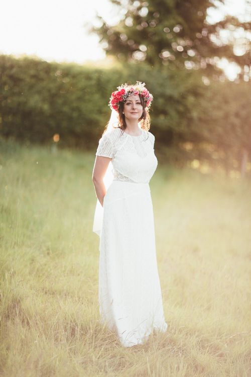 Bride in Lace Watters Wedding Dress | Bright Festival Themed Outdoor Ceremony & Tipi Weeding |  Maryanne Weddings | Framed Beauty Film