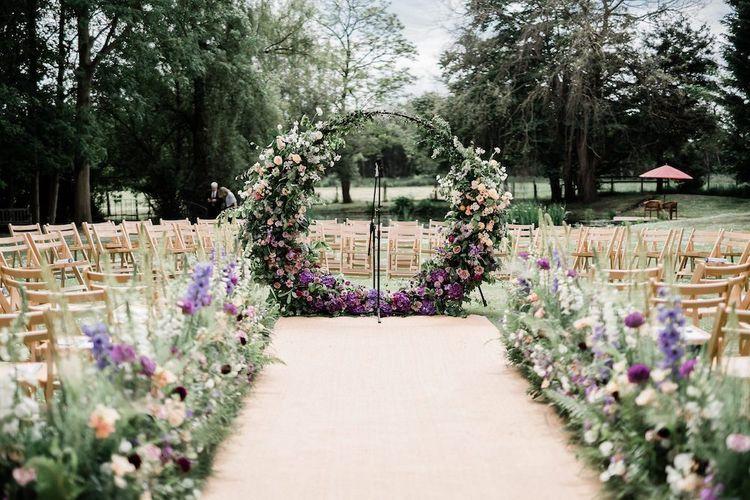 Lilac and Peach Ombre Moon Gate Altar Wedding Flower Decor