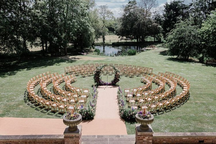 Circular Outdoor Wedding Ceremony with the Floral Moon Gate in the Centre