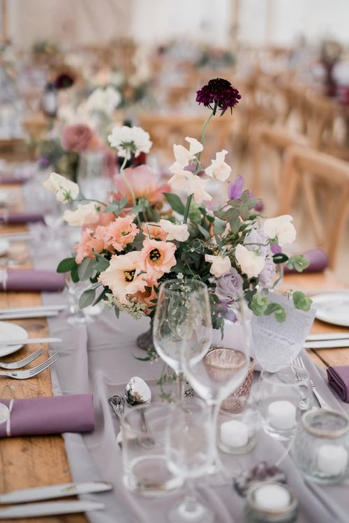 Lilac, Peach and Cream Floral Centrepiece