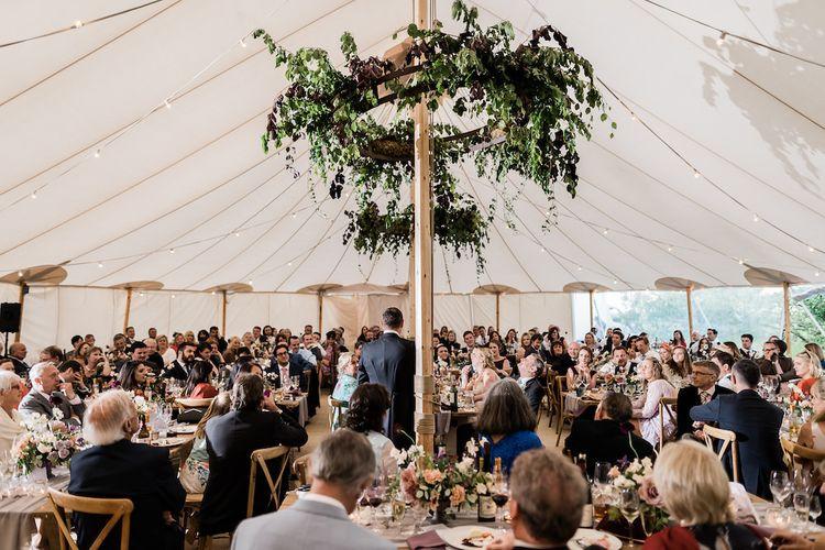 Wedding Reception with Greenery Hoop Decor
