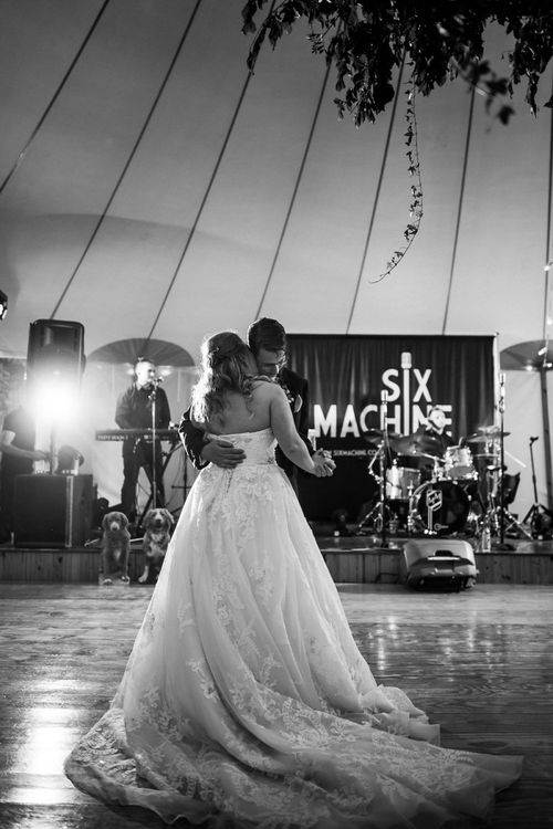 Black and White Portrait of the Bride and Groom on the Dance Floor