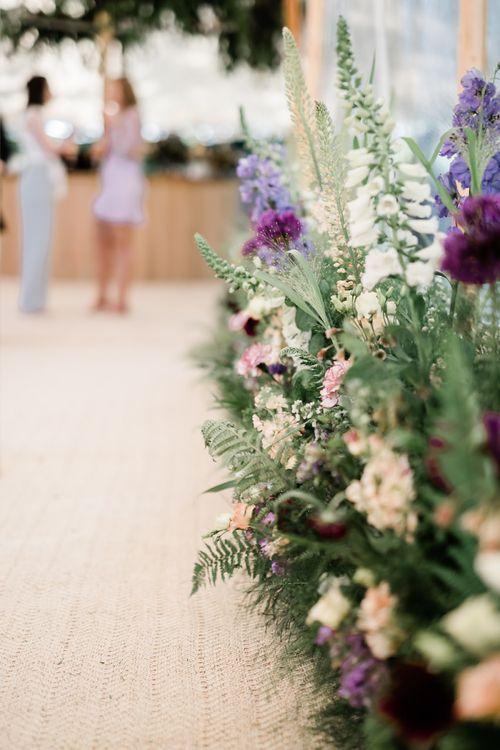 Lilac Flowers and Foliage Aisle Wedding Flowers