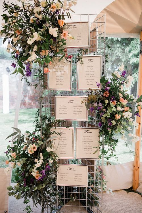 Wire Frame Table Plan with Wedding Flowers Intertwined