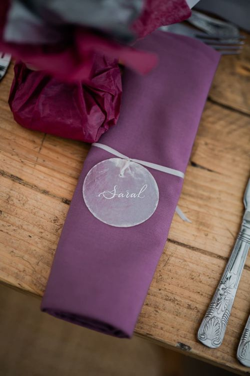 Purple Napkin with Clear Name Place Setting