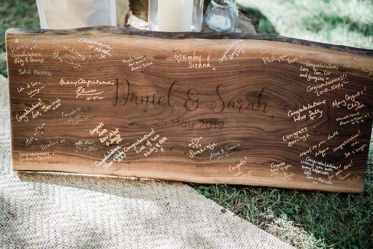 Wooden Plank Alternative Wedding Guest Book