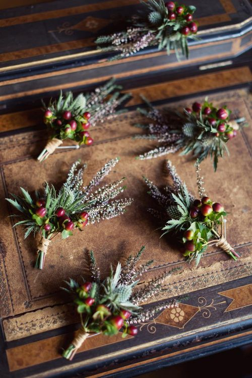 Groomsmen Buttonholes with Berries and Thistles