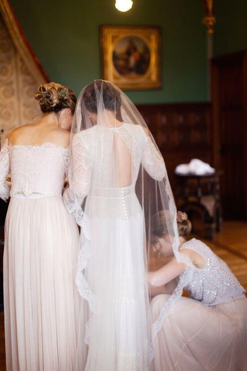 Wedding Morning Bridal Preparations with Bridesmaids in Pink Monsoon Dresses and Bride in Lihi Hod Sophia Wedding Dress