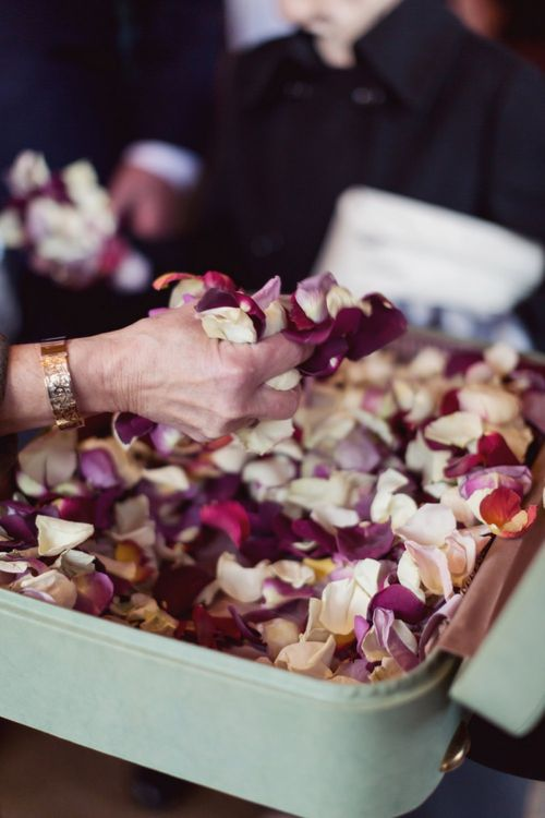 Vintage Suitcase Full of Petals to use as Confetti