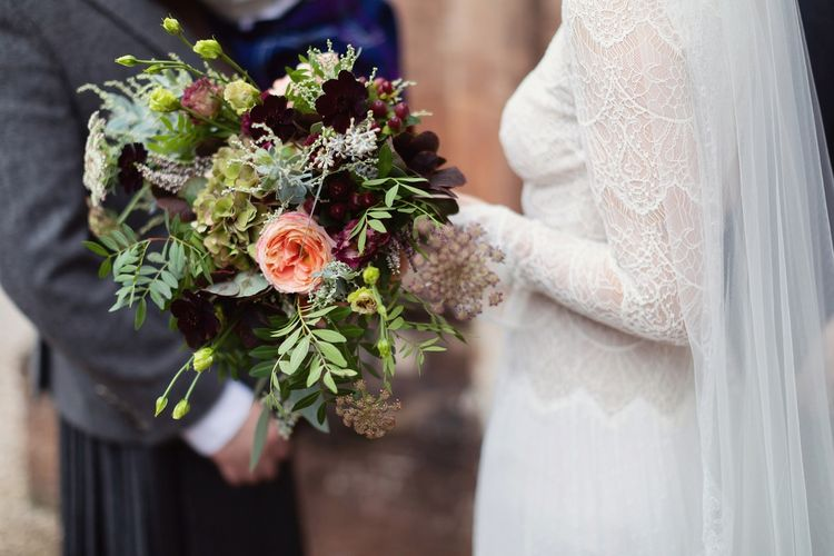 Winter Wedding Bouquet with Foliage, Hydrangea and Deep Purple Flowers