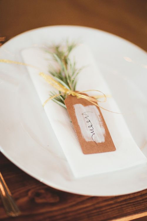 Craft Paper Luggage Tag Place Setting Card