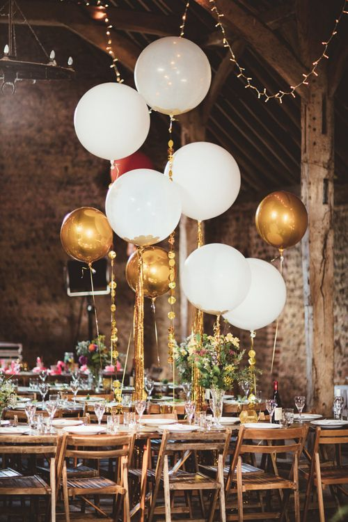 White and Gold Helium Balloons  on String