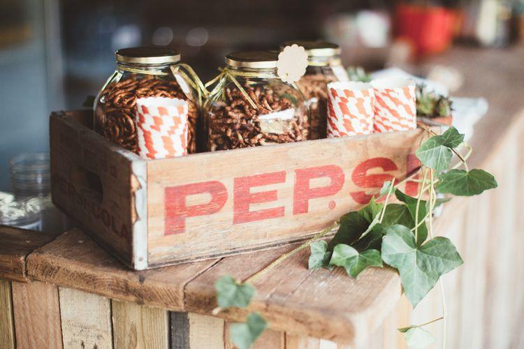 Vintage Pepsi Wooden Crate Filled with Jars of Pretzels and Twiglet Snacks