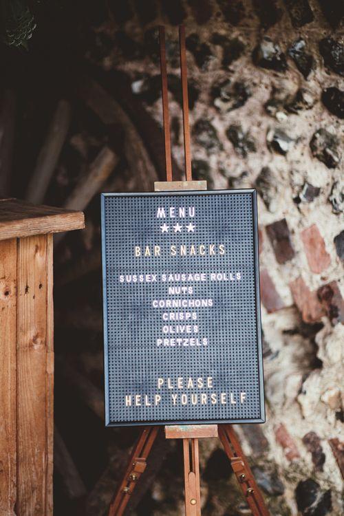 Peg Board Bar Snacks Menu Sign