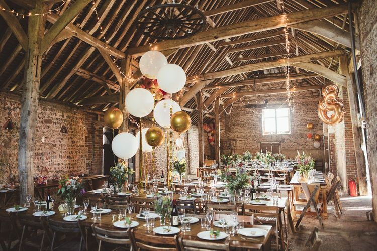 Montague Farm Barn Wedding Reception Decor with Fairy Lights,  Balloons and Wildflowers