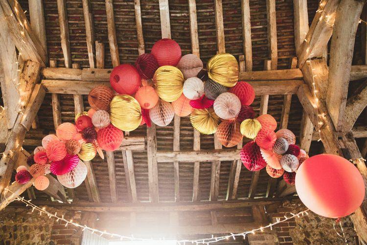 Honeybomb Pom Pom Wedding Decor and Paper Lanterns