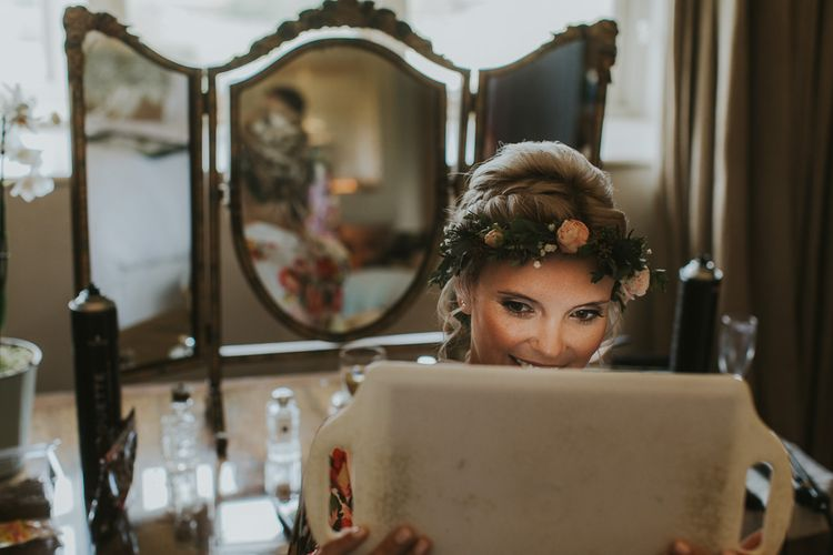 Bride In Floral Crown // Scottish Wedding With Ceilidh At Axnoller Dorset With Bohemian Styling Outdoor Wedding Ceremony With Images From Paul Underhill Dorset Wedding Photographer
