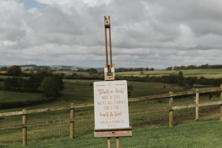 Welcome Sign For Wedding // Scottish Wedding With Ceilidh At Axnoller Dorset With Bohemian Styling Outdoor Wedding Ceremony With Images From Paul Underhill Dorset Wedding Photographer