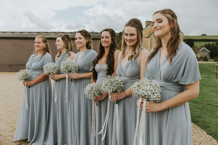 Bridesmaids In Pale Grey Blue Multiway Dresses // Scottish Wedding With Ceilidh At Axnoller Dorset With Bohemian Styling Outdoor Wedding Ceremony With Images From Paul Underhill Dorset Wedding Photographer